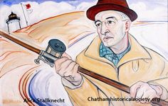 """From the Alice Stallknecht mural """"Every Man to His Trade."""" Portrait of Ralph Bevan surf casting.  Ralph Bevan was the manager of the Nickerson Lumber Company in the 1930-s and 1940's. #chatham, #alicestallknecht, #mural, #muralbarn, #capecod, #chathamhistoricalsociety"""