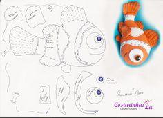 ARTE COM QUIANE - Paps,Moldes,E.V.A,Feltro,Costuras,Fofuchas 3D: Molde Nemo
