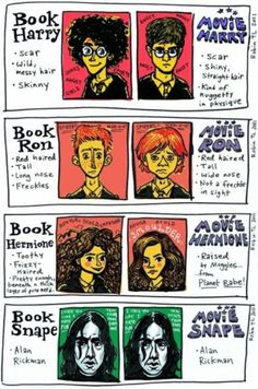 compare and contrast book characters vs their movie character