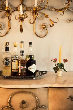 Make your liquor displays classy, folks. A mirror tray is almost a necessity.