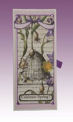 Bees in the Garden, Original, Handmade Card, Character Constructions, Mixed Media, Collage, Spring, Tag, Gift