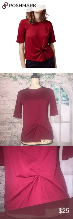 """Topshop Twist Front Top Red Elbow Sleeves Size 4 Topshop Twist Front Top Red Elbow Sleeves Size US 4  • Twist-knot detailing at the front elevates a solid elbow-sleeve top in a semi-relaxed fit • Crew neck • Elbow sleeves • 96% Polyester; 4% Elastane • Machine wash • Eur 36 , US 4, UK 8 (fits like a US 0-2) • Approx. Flat lay measurements: Length: 22"""" ; Arm pit to arm pit: 17"""" Topshop Tops Blouses"""