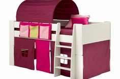 Steens For Kids Girls Bunk Bed, Kids White Mid Sleeper Bed, Cabin Bed, with Pink Tent Tunnel