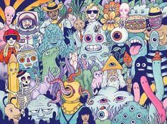 Bernstein & Andriulli - News - Andrew Rae Gets Digital with Wacom Art Inspo, Funky Art, Hippie Art, Dope Art, Cultura Pop, Psychedelic Art, Art Sketchbook, Aesthetic Art, Art Reference