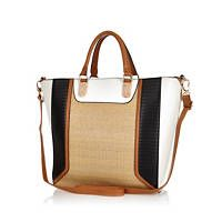 Beige woven panel tote bag
