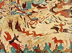 Hunting scene from the grottoes of Dunhuang. Northern Wei Dynasty 386-634 A.D.