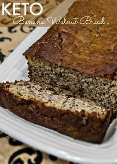 Keto Banana Walnut Bread Great for kids! Keto Size Me - Keto Recipes - Ideas of Keto Recipes - Keto Banana Walnut Bread. Coming in at 11 Net Carbs this bread is a great way to get some extra potassium in your diet without the cravings. Low Carb Sweets, Low Carb Desserts, Low Carb Recipes, Bread Recipes, Vegan Recipes, Bon Dessert, Dessert Recipes, Keto Desert Recipes, Cheese Dessert
