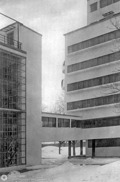 Narkomfin Building – Constructivist architecture.   The Narkomfin Building is a block of flats in Moscow, Russia, designed by Moisei Ginzburg with Ignaty Milinis in 1928, and finished in 1932. Wikipedia.