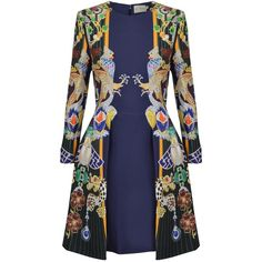 Mary Katrantzou Totem Chrono Dress found on Polyvore featuring dresses, blue dress, striped dress, blue striped dress, fitted tops and longsleeve dress