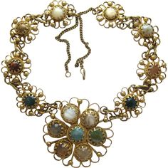 Vintage Brassy Boho Glass Stone Flower Pendant Necklace from 2Hearts Jewelry & Accessories Exclusively on Ruby Lane