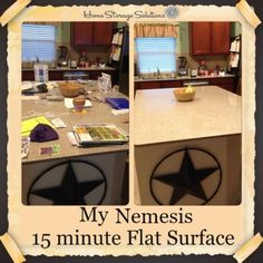 Before and after when Regina decluttered her nemesis flat surface, her kitchen counters, for 15 minutes {featured on Home Storage Solutions 101}