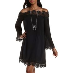 Charlotte Russe Black Crochet-Trim Off-the-Shoulder Shift Dress by... ($33) ❤ liked on Polyvore featuring dresses, black, black dress, flare dress, off the shoulder dress, black off shoulder dress and black boho dress