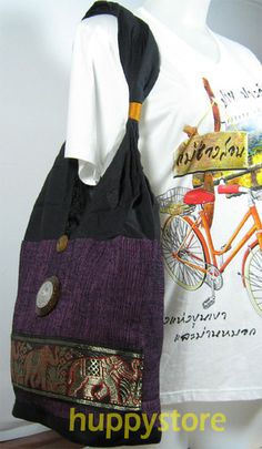 EMBROIDERED COTTON HILL TRIBE ETHNIC HIPPIE/HIPPY SHOULDER BAG TOTE HMONG THAILAND,  DECORATED WITH COCONUT SHELL AND BAS-RELIEF ENGRAVED ALUMINIUM PLATE. This embroidered bag is hill tribe style, made from cotton fabric and decorated with wooden button and wooden beads, including bas-relief engraved aluminium plate depicting elephants in the wood. Start at $12.90