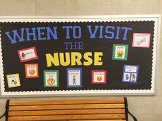 Made this to remind kids when to visit Nurse Office Decor, School Nurse Office, Nurse Decor, School Nursing, Rn School, Health Bulletin Boards, Nurse Bulletin Board, Back To School Bulletin Boards, Memes Humor