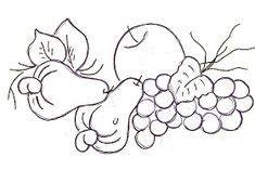*** RG Artes *** by Raquel Garcia: Riscos de frutas Embroidery Patterns, Machine Embroidery, Sketchbook Drawings, Simple Art, Coloring Pages, Decoupage, Stencils, Lily, Place Card Holders