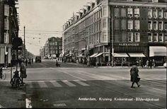 1957. View on the crossing Kinkerstraat and Bilderdijkstraat in Amsterdam. The Kinkerstraat runs from the Nassaukade to the Kostverlorenvaart. The street was named in 1881 after poet and lawyer Johannes Kinker (1764-1845). The Bilderdijkstraat connects the Frederick Hendrikstraat and the Eerste Constantijn Huygensstraat and is crossed by the de Clerqstraat and Kinkerstraat. In 1878 the street was named after Willem Bilderdijk (1756-1831). #amsterdam #1957 #bilderdijkstraat