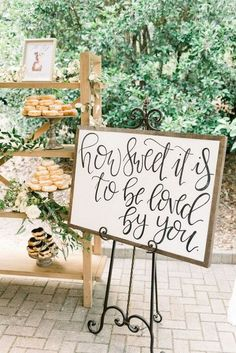 Yes how sweet it is! Donut display for Carmen and Seth's June wedding reception…. Yes how sweet it is! Donut display for Carmen and Seth's June wedding reception. Wedding Reception Ideas, Wedding Favors, Wedding Planning, Wedding Dessert Tables, Cake Tables For Weddings, Wedding Table Signs, Fall Wedding Desserts, Wedding Cake Table Decorations, Wedding Receptions