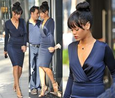 Rihanna in a very classy outfit