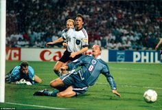 Football Interntional European Championship 1996 Semi Final Match England v Germany (Germany won on penalties) Paul Gascoigne just fails to connect in extra time . Euro 1996, English Legends, England National, International Football, European Championships, Semi Final, Coming Home, World Cup, How To Memorize Things