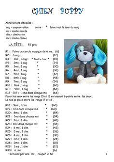 Crochet amigurumi 516928863479428371 - Fiche amigurumi : Le Chien – Elylou crochette Source by aymlaur Crochet Bunny, Crochet Home, Crochet Motif, Crochet Animals, Crochet Stitches, Free Crochet, Crochet Dolls Free Patterns, Amigurumi Patterns, Amigurumi Fox