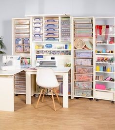 Resolving all your craft storage dilemmas, the Storeaway Knightshayes is a foldable workstation providing a worktop, shelves and drawers. Crafting from your home has never been this convenient! Plastic Box Storage, Craft Storage, Storage Boxes, Storage Ideas, Yarn Storage, Craft Cabinet With Table, Desk Arrangements, Over The Desk, Craft Station