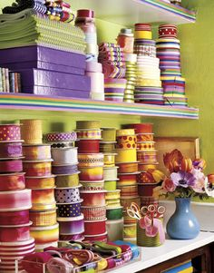 GOAL: Find and use a good way to keep ribbons organized and functional.    Alexandra Stoddard's Decorating Tips - Country Living