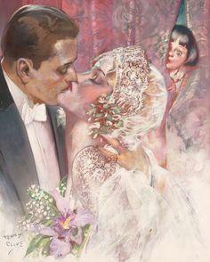 Vintage Wedding Cards, Vintage Bridal, Vintage Art, Vintage Romance, Vintage Vanity, Wedding Illustration, Fashion Illustration Vintage, June Bride, Pin Up