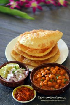 Chole Bhature Recipe is a very famous Punjabi breakfast dish served with Chole (spicy chick peas), Bhatura, onion, pickle and lassi. Tasty Indian Recipe, Indian Food Recipes, Vegetarian Recipes, Cooking Recipes, Indian Breakfast, Breakfast Dishes, Breakfast Recipes, Breakfast Items, Bhatura Recipe