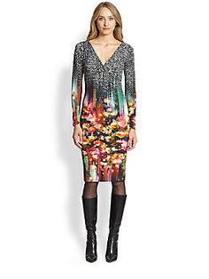 Fuzzi Tweed Floral-Print V-Neck Dress, available at Saks Fifth Avenue