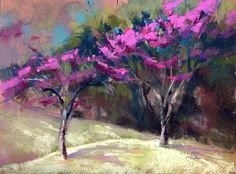 """""""Sweeping Redbuds,"""" © Jude Tolar, 2016, soft pastels on paper, 9 x 12 in."""