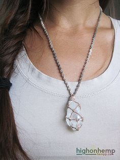 Quartz Crystal Natural Hemp Necklace by HighonHemp on Etsy Clear Quartz Crystal, Crystal Pendant, Crystal Healing, Hemp Necklace, Arrow Necklace, Adjustable Knot, Stones And Crystals, Diy Jewelry, Necklace Lengths