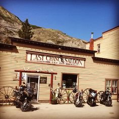 Last chance saloon. Drumheller Alberta. Old coal mining area of Alberta. If you decide to have a few extra drinks you can stay in the attached hotel. The rooms are the closest thing you could get to a western movie. Bullet holes in the wall over the bars piano were a highlight for me. Motorcycle Camping, Camping Gear, Motorcycle Adventure, Drumheller Alberta, Last Chance Saloon, Places Ive Been, Places To Go, Canadian Rockies, Road Trippin