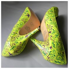 Wedding Shoes Lime Green Neon Purple Emerald Paisley By Norakaren 295 00