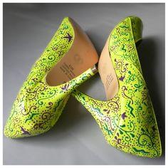 Wedding shoes lime green neon purple emerald paisley by norakaren, $295.00