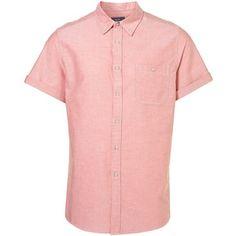 TOPMAN Red Oxford Short Sleeve Shirt