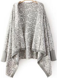 Grey Long Sleeve Totem Print Knit Cardigan 29.33