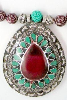 Afghani Kuchi with Carved Jade by SilkRoadJewelry