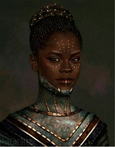 Unless I'm totally wrong, this is Shuri, T'Challa's sister (Black Panther). I put it here to relate to our materials in class and because it is a nice portrait. Black Panther Marvel, Shuri Black Panther, Black Panther Art, Black Panthers, Black Girl Art, Black Women Art, Afro Art, My Black Is Beautiful, Black Love