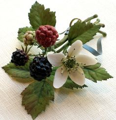 Tole & porcelain Blackberry with blossom - All objects are handmade. Flowers are made of porcelain. Tole leaves and stems are made of painted copper. – Vladimir Kanevsky, Fine Porcelain