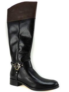 Michael Kors Women's Fulton Harness Wide Calf Boots Black/Mocha Leather 7.5 M #MichaelKors #RidingEquestrian #Dress
