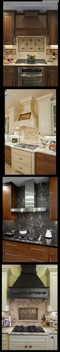 Backsplash can be dull and boring, or it can really liven up your kitchen, so it is important to choose the right tile. Vent hoods can be both practical and trendy, and come in a variety of colors and styles (contemporary, traditional, etc.).