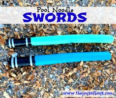 Love this! The swords I have bought did not last long. Cheap and Easy Pool Noodle Swords. www.therapyforyourchild.com