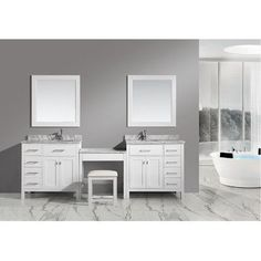 Gallery One Best Deal Sagehill Designs Toby Modular Double Bathroom Vanity with Drawers and Makeup