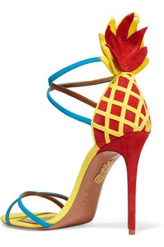 Heel measures approximately 105mm/ 4 inches Red, yellow and blue suede Buckle-fastening ankle strap Made in Italy