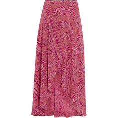 Vix Vix - Boho June Printed Silk Crepe De Chine Wrap Maxi Skirt - Plum