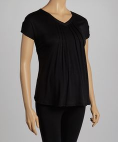 Love this Black Maternity V-Neck Tee by QT Maternity on #zulily! #zulilyfinds