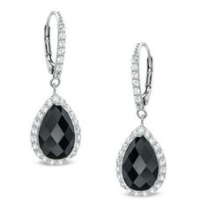 Pear-Shaped Onyx and Lab-Created White Sapphire Frame Drop Earrings in Sterling Silver