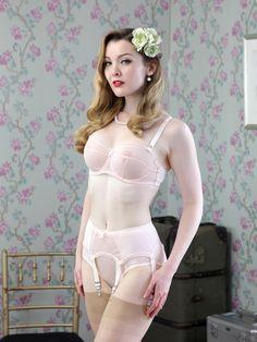 Vintage-inspired lingerie, with garter belt.