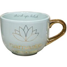 Namaste Bitches Coffee Mug ($15) ❤ liked on Polyvore featuring home, kitchen & dining, drinkware, ceramic coffee mugs and ceramic cups