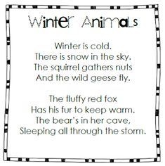 I made animals and objects described in poem for students to retell : Winter Animals. I made animals and objects described in poem for students to retell Kindergarten Poems, Preschool Songs, Preschool Winter, Winter Activities, Preschool Teachers, Preschool Ideas, Craft Ideas, First Grade Poems, First Grade Science